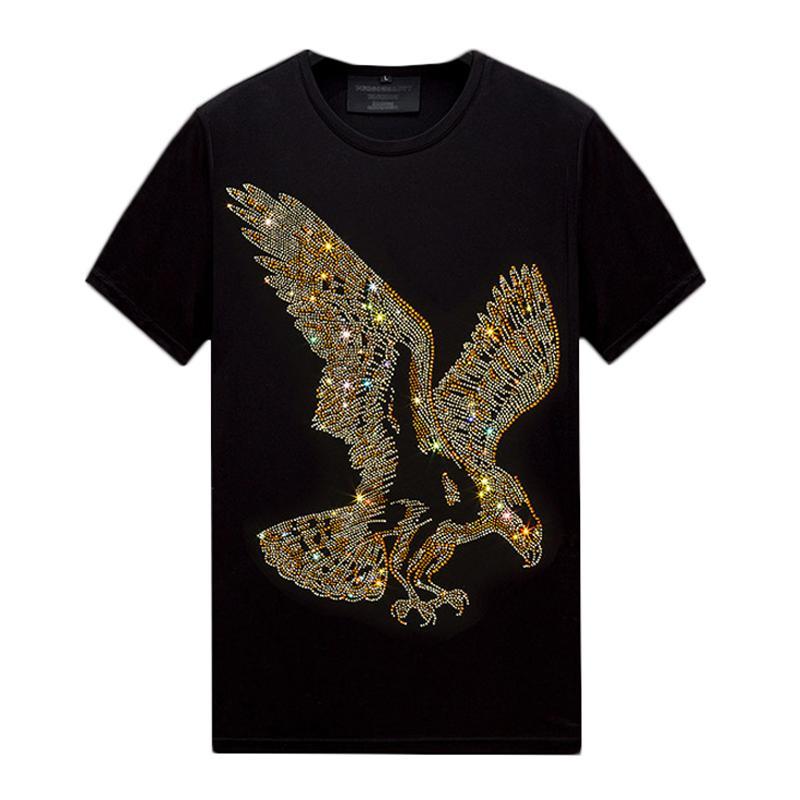 Yaz Rahat Erkek Tasarımcı T Shirt Kısa Kollu Sıcak Rhinestone Slim Ekip Boyun Tops Tee Merserize Pamuk