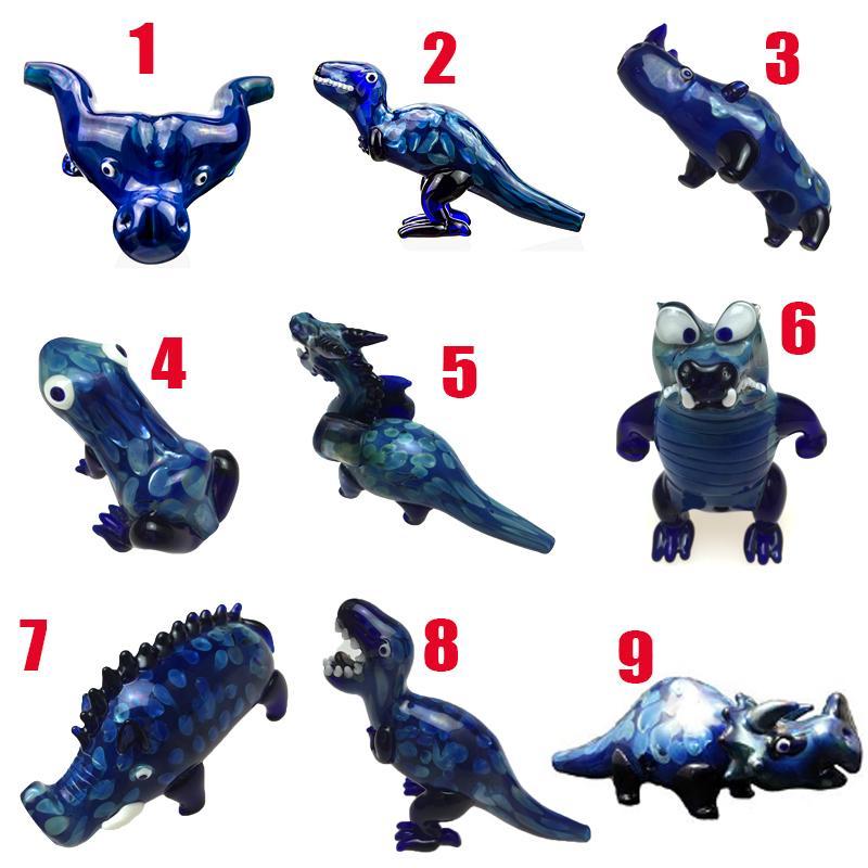 Moda Hayvan Tarzı Cam Sigara Borular Dinozor Tütün El Boru Kalın Koyu Mavi Sigara Aksesuarları Heady Borular 9 Stilleri