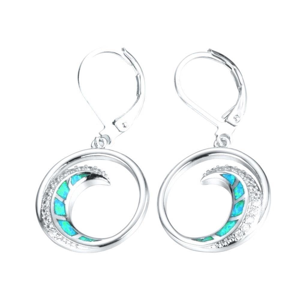 NPKDS Europeo e American Fashion Style Opal 5 Colors Orecchini Orecchini lunare Orecchini nappa Orecchini gioielli orecchini gioielli
