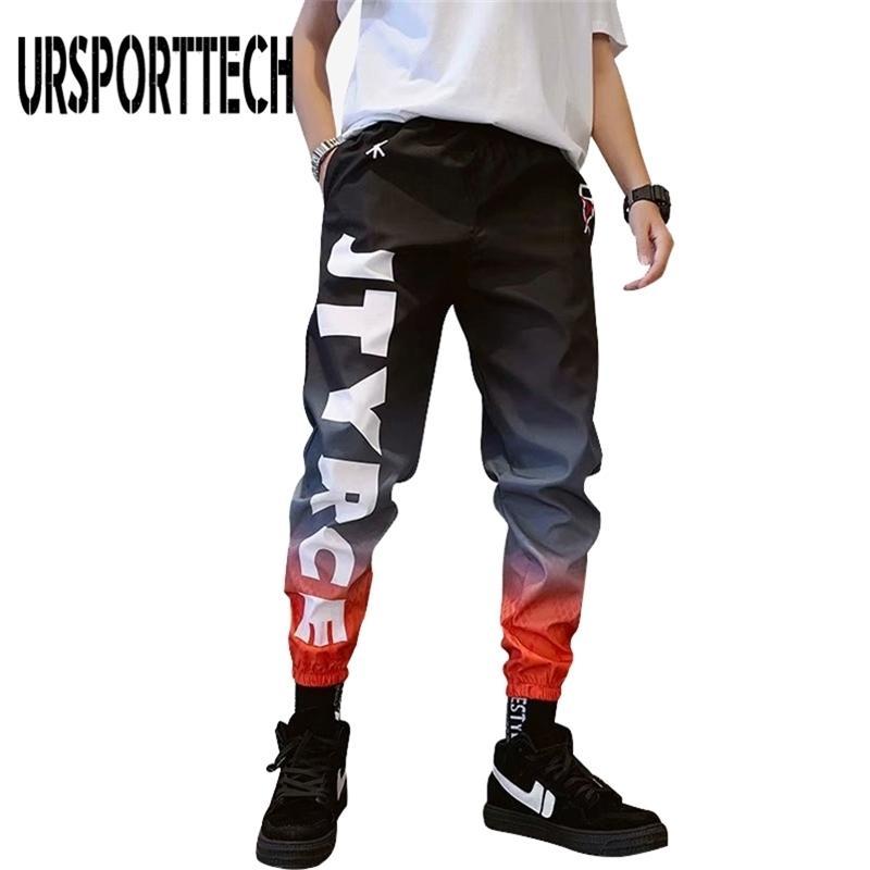 Streetwear Hip Hop Joggers Pantalon Harem Pantalons de la cheville Pantalons de la cheville Sport Casual Lettre Pantalon de survêtement des hommes Y201123