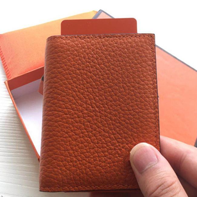 Kartenfotos Halter Bank Design Fall Karten Mode Slim Männer / Frauen ID Echt Echt Staub Business Lederhalter mit Kredit Bag Box CTUFJ