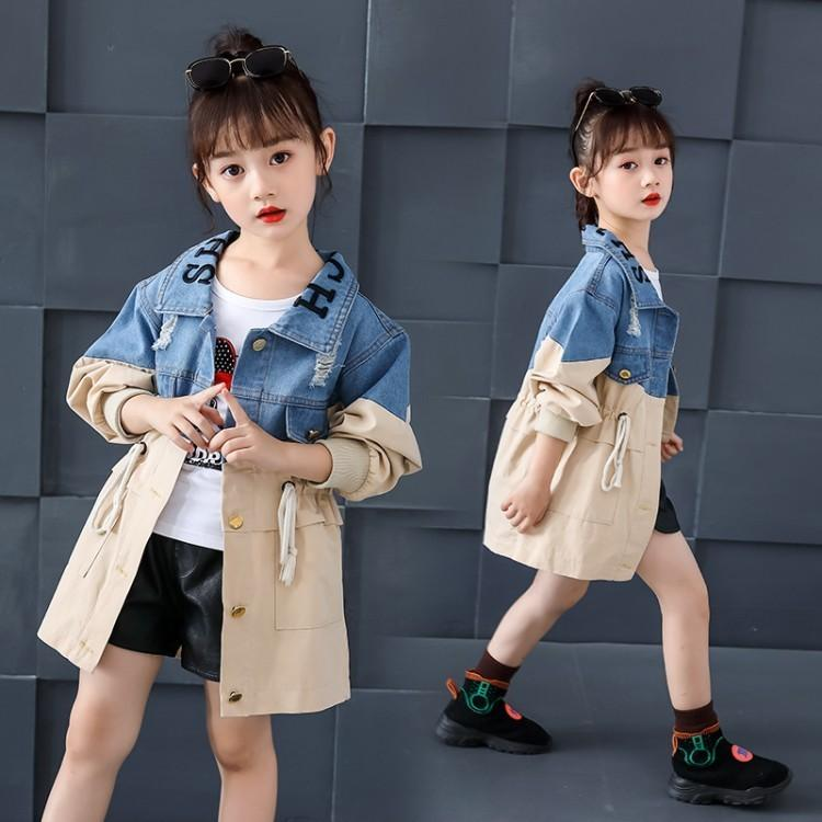 Children's wear girls spring and stitching denim coat 2019 new autumn small fresh letter color matching drawstring windbreaker