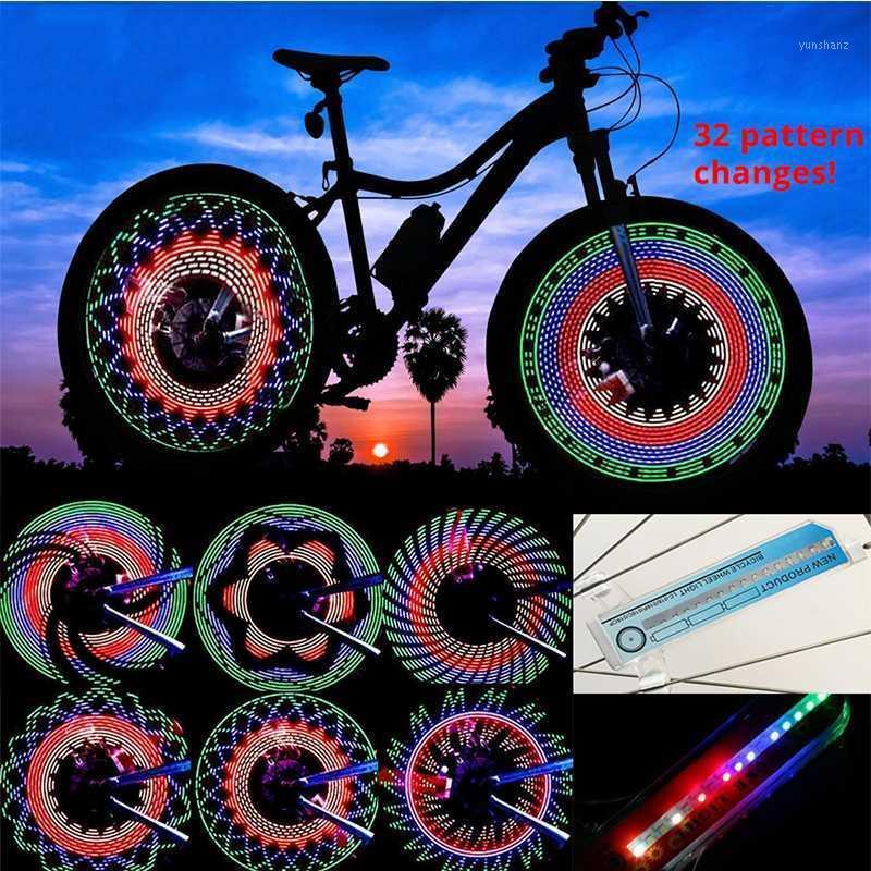 30 motif de vélo de vélo de vélo de vélo lumière double affichage flash 32 rgb LED vélo de bicyclettage lampe nuit équitation vélo éclairage1