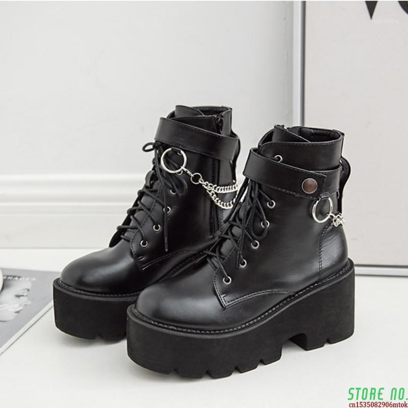 Boots Boussac Металлические цепи Коренастая платформа Женская Круглый Носок Женщины Зимний Черный Панк Гот SWE08721