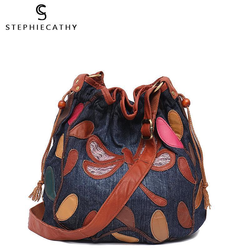 SC старинные настоящие кожаные сумки женщины Denimleather Beatwork Bage Bag Densize ведро сумка женские шнурки Hobo Cross Body