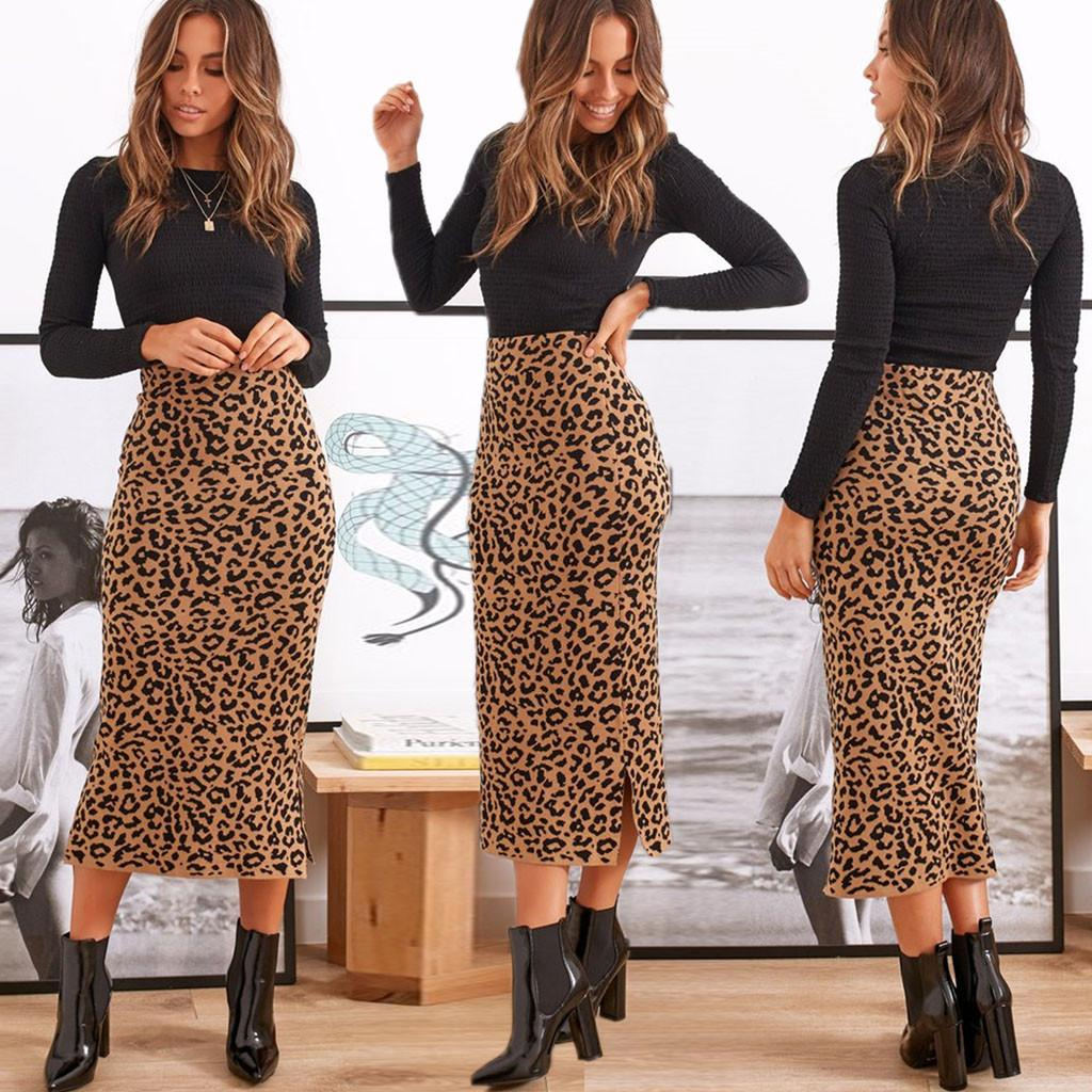LEOPARD PRINT MIDI Faldas de cintura alta cintura vintage fiesta Falda larga Sexy Slim Fashion Lápiz Oficina Club Imprimir Animal Faldas Q0119