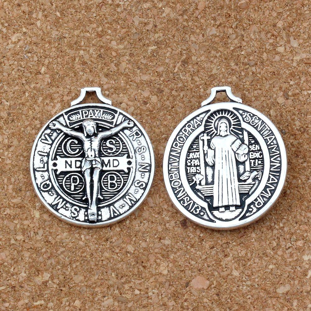 30pcs Jésus Benedict Da Norcia Médaille Cross Patron Crucifix Charms Pendentifs Bijoux DIY Collier Collier 29x34mm A-240