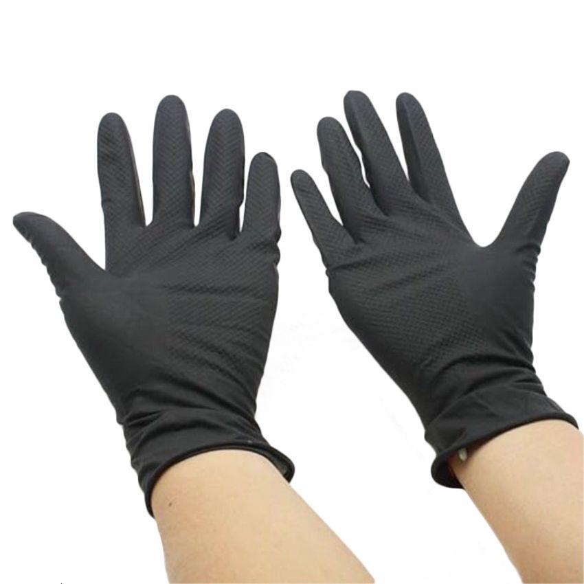 Chouster 100 шт. Резиновый техник Прочная противоскользящая перчатка Парикмахерская Аксессуар для волос Инструменты для волос Черные перчатки WB7W