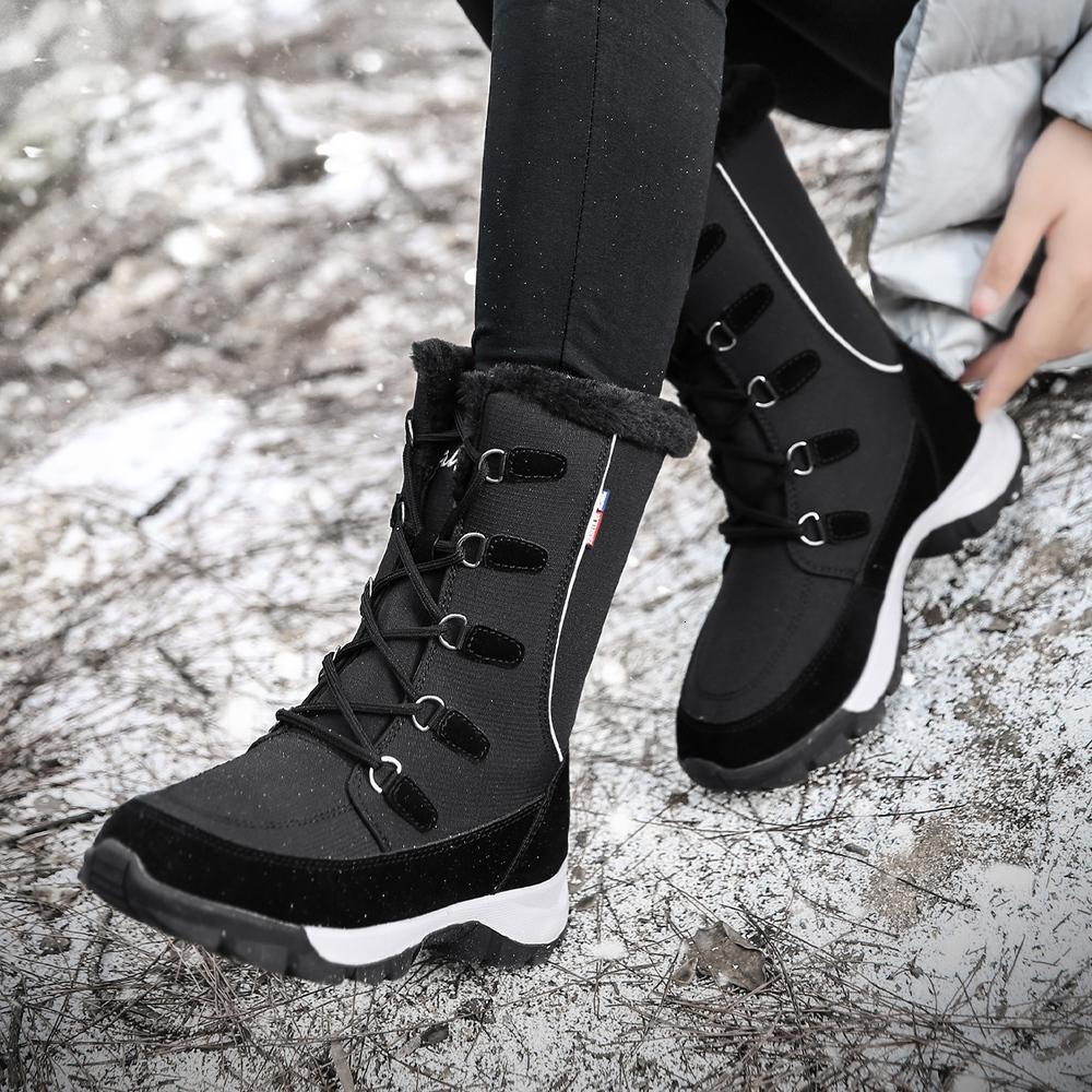 في الهواء الطلق midcalf laarzen وضع ستوكات أحذية المشي لمسافات طويلة الشتاء الدافئة pluche النساء snowboots