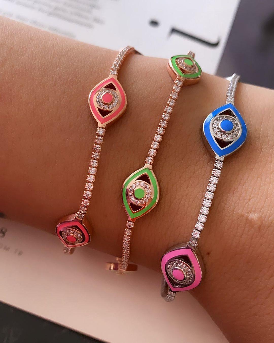 2020 Heißer Verkauf Mode Frauen Schmuck Neon Emaille Bunte Türkische Eiche Augen Charm Tennis Kette Eye Armband Y1119