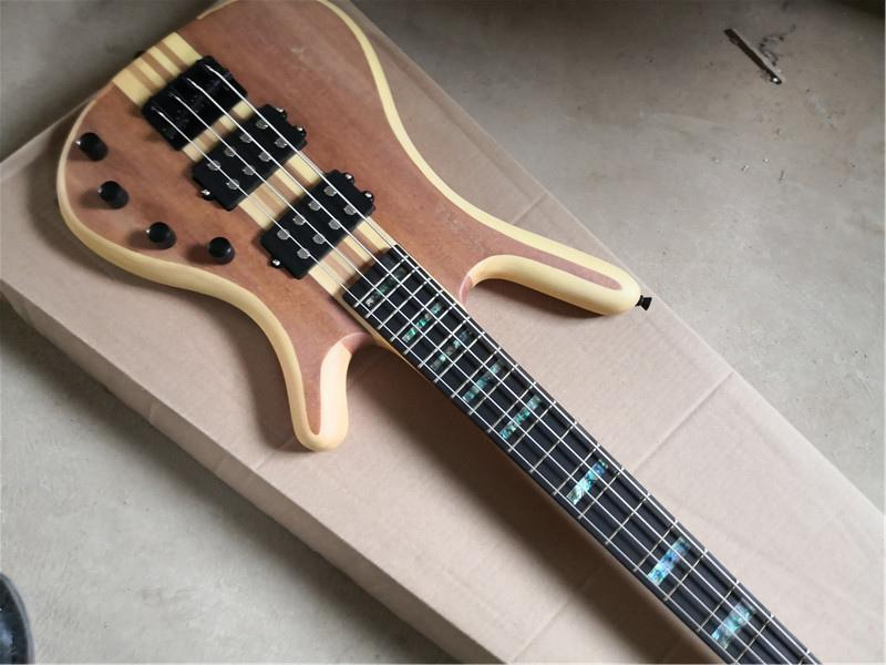 Chitarra di spallina di trasporto libero per chitarra di spallina, basso elettrico a 4 corde, corpo top solido in mogano, collo a sette pezzi attraverso il corpo, involucro in guscio, tastiera di ebano