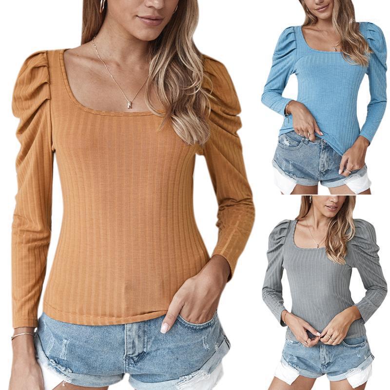 Womens sexy longa manga de sopro de malha t-shirt casual senhoras sólidas slim tops tee outono quadrado colar 2020 feminino tops1