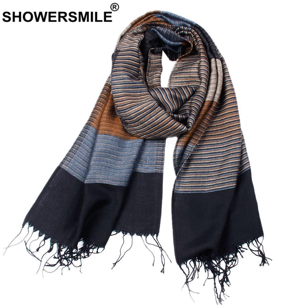 Lenço de inverno de tassel listrado de chuveiros para homens desenhador lenços de homens acrílicos 180cm * 52cm