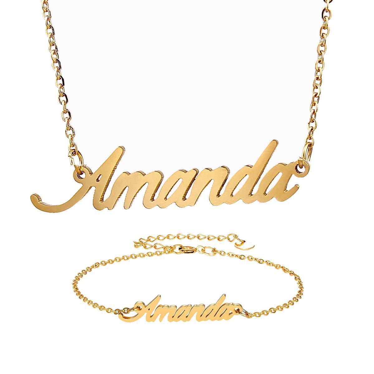 أزياء الفولاذ المقاوم للصدأ اسم قلادة + سوار مجموعة للنساء أماندا النصي رسالة الذهب المختنق سلسلة قلادة قلادة لوحة هدية
