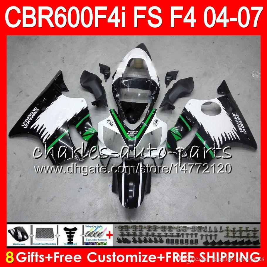 8Gifts 23Colors For HONDA CBR600FS FS CBR600F4i 04 05 06 07 AAHM15 CBR600 F4i CBR 600F4i CBR 600 F4i 2004 2005 2006 2007 gloss black Fairing