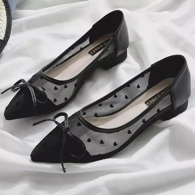 Bow maille Femmes Chaussures Wave Point Lady Appartements Slip sur des mocassins Dentelle Chaussures Femme Mode Printemps Été Pointé Toe Plat Zapatos Muje # UB7M
