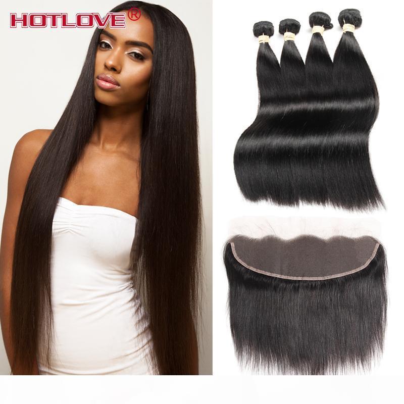 Cabello recto de la Virgen Malasia con el cierre 4 paquetes Remy Human Hair con 13 * 4 Free Part Free To Ear Lace Frontal