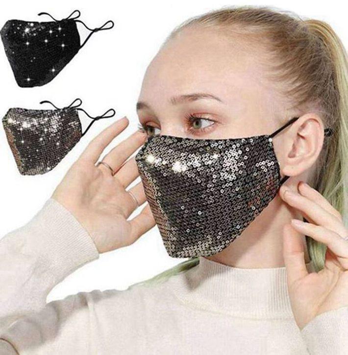 Мода Bling 3d Моющаяся многоразовая маска PM2.5 Shield Shield Sun Color Gold Leving Sequins Designer Face Party Blue Face Mask 500 шт.