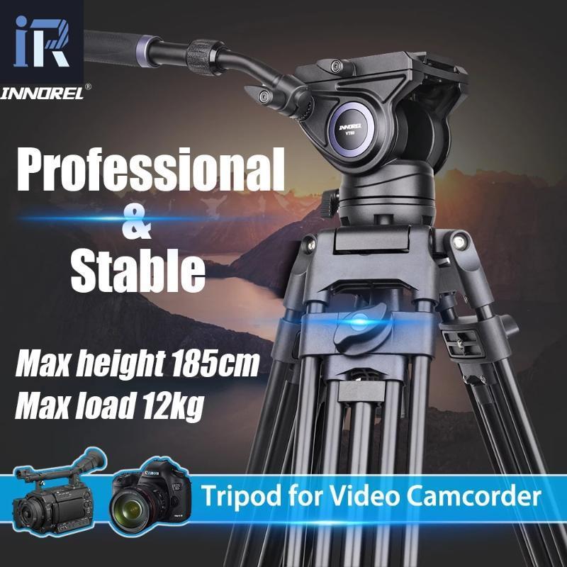 Innorel VT80 전문 알루미늄 비디오 삼각대 유압 유체 유체 비디오 헤드 카메라 삼각대 DSLR 캠코더 DV 1.85m 12KG로드