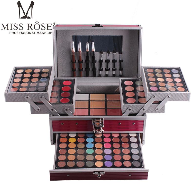 Wholesale- Miss Rose professional  set box in Aluminum three layers include glitter eyeshadow lip gloss blush for  artist MS067