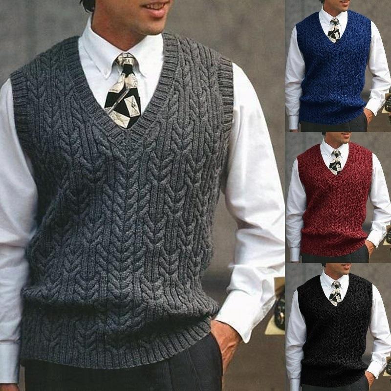 Suéter chaleco moda moda color sólido delgado-apto otoño invierno casual sin mangas con cuello en V cuello caliente chaleco streetwear hombres ropa
