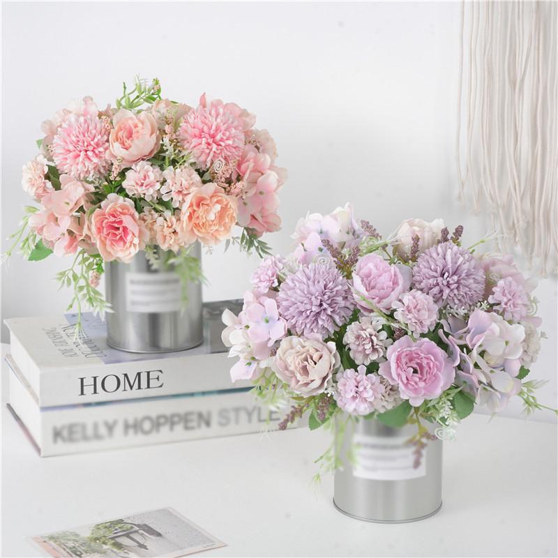 7 Niederlassungen Künstliche Blumen Blumenstrauß Gefälschte Pfingstrose Silk Hortensie Braut Hand Blume Hochzeit Home Mittelstücke Dekor JK2101XB