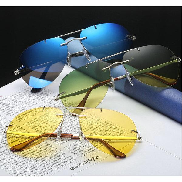Мужчины Sun Pure Polarized Titanium Солнцезащитные Очки Для Мужской Вождение Поляризационные очки Rimless Мужские Солнцезащитные Очки FML