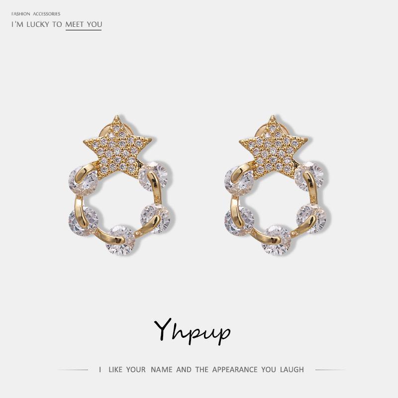 YHPUP TRENDY BLING CZ ELEGANT STAR Géométrique Geométrique Boucles d'oreilles strass Crystal Luxe Brincos Girl Femme Femmes Party Bijoux Cadeau Nouveau1