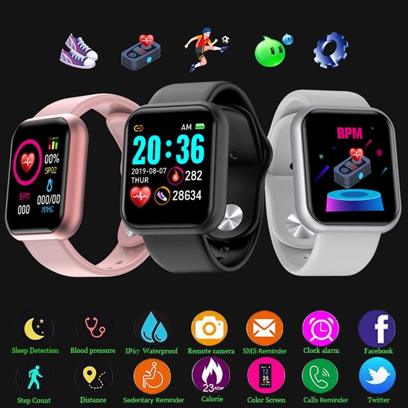 Y68 D20 SmartWatch Pulsera de fitness Presión arterial Monitor de ritmo cardíaco Pedómetro Cardio Pulsera Hombres Mujer Smart Watch para iOS Android # 012