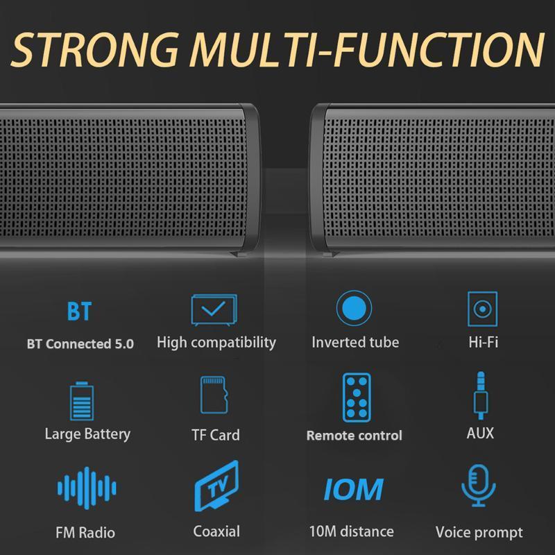 Big Power 20W Soundbar Basse Stéréo stéréo avec télécommande Aux Line 2000MAH Capacité élevée pour TV Home Theater Subwoofer