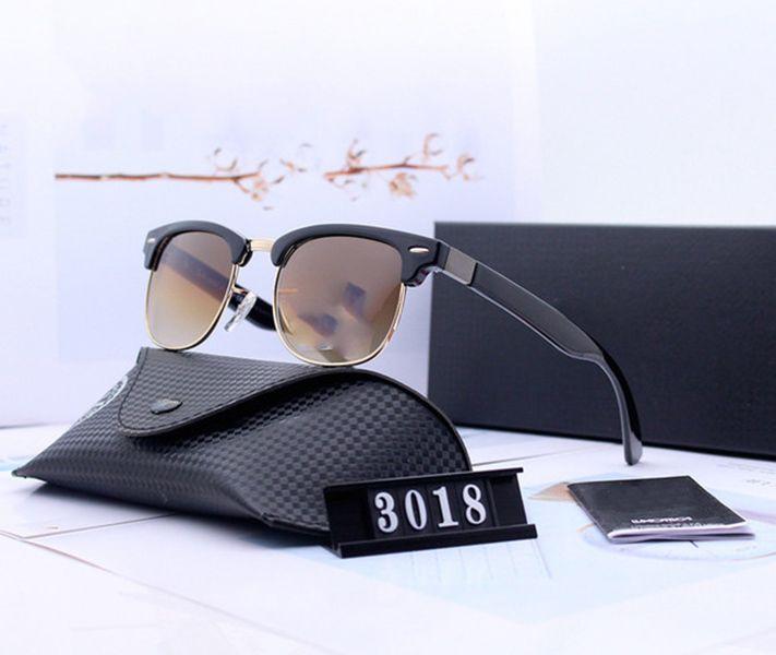 Box Femmes Luxury Ray 3018 Hommes Sunglasses polarisées Cadre UV400 Lunettes lunettes Bans Metal Pilot Polaroid Lentilles Lunettes de soleil avec design MNJUF