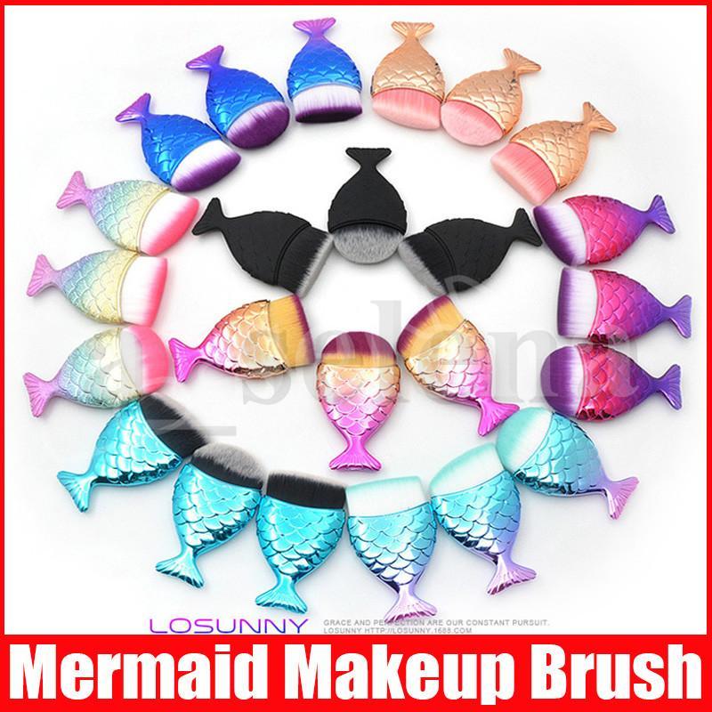 Çok stilleri Mermaid Makyaj Fırçalar Toz Allık Fondöten Kozmetik Araçları Balık Fırçası Kontur BB Krem Makyaj Fırça