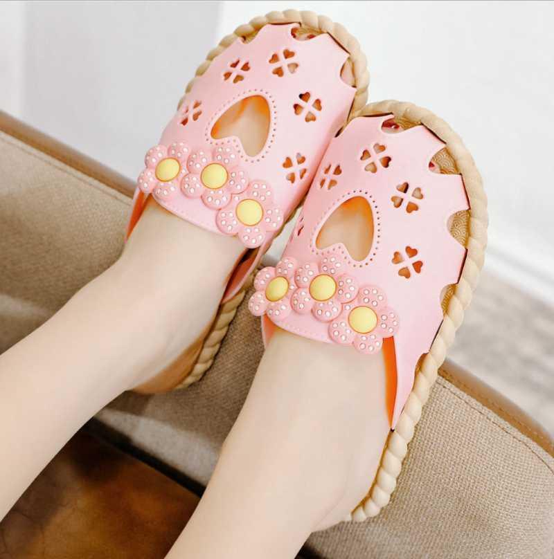 Damas dulces flores zapatillas verano nuevas mujeres casas casas zapatos moda exterior desgaste ims hueco flores chicas playa