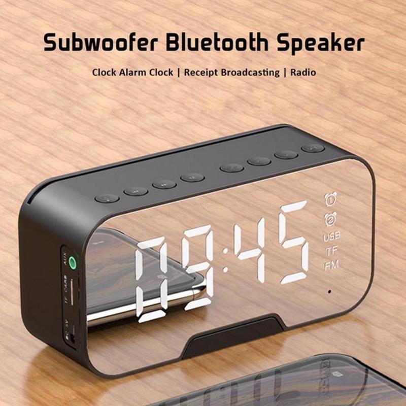 LED Kablosuz Bluetooth Hoparlör FM Radyo 10 W Sütun Ile Çalar Saat Ayna Ses Kutusu Subwoofer TF AUX MP3 Boom Kutusu için Telefon / PC