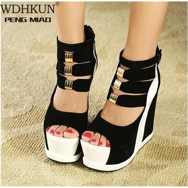 Женская обувь 2020 летние подлинные женские платформы толстые подошвы сандалии клинья высокий каблук 14см Peep Toe смешанные цвета сексуальные туфли C0128