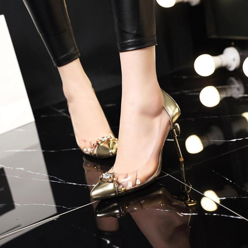 9 cm stiletto heels metallic simple professional flash wedding crystal shoes
