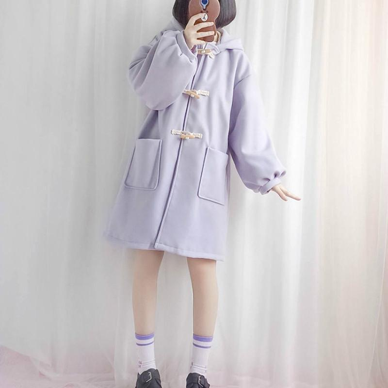 Женская шерстяная смесительная философия зимнее пальто сладкий длинный негасительный траншею женской повседневной свободным японским стилем Kawaii Horn Button Wears