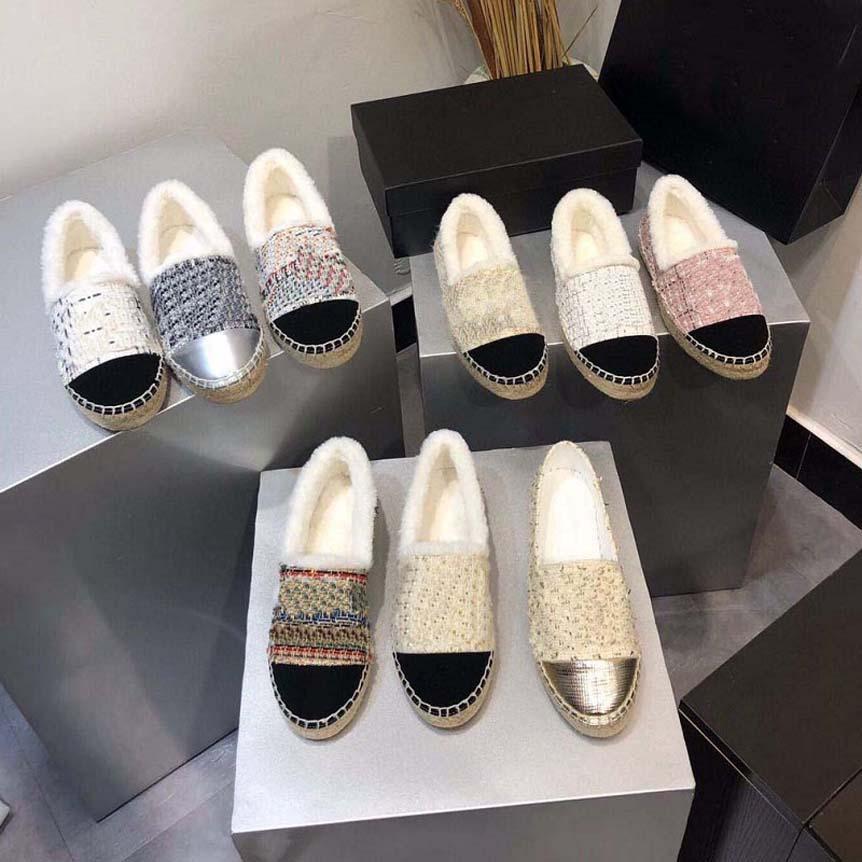 Classics Mocassins Winter Femmes Espadrilles Chaussures plates Toile Véritable Ligne Ligne Locafers Deux Ton Ton Toile Toine Chaussures Casual avec Box CH125 05
