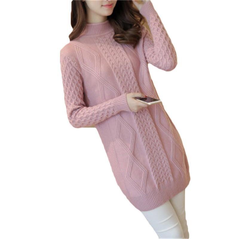 2021 Automne hiver tricoter Pull long pull femmes décontracté pull tricoté pull pull à manches longues torsadeur fleur fleur Turtleneck z346
