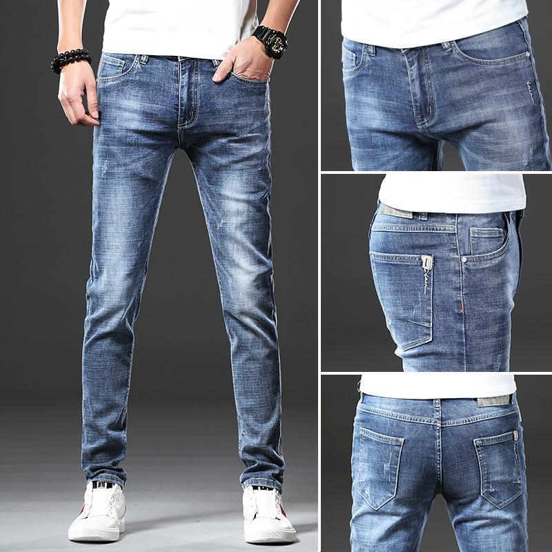Jeans de l'homme 2021 Spring Summer Cotton Marque Ensembles Denim Skinny Mode Quality Pantalons Stretch Pantalon Slim Slim Undefined