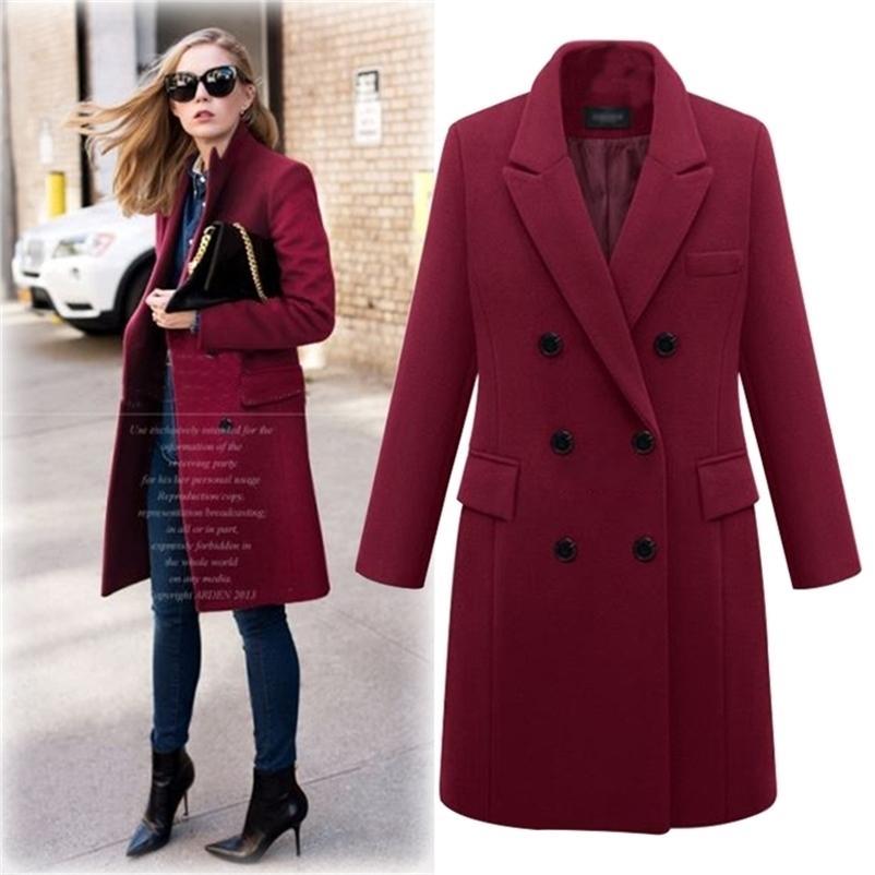 Outono inverno casaco mulheres reta casaco longo lã mistura jaqueta elegante borgonha negro jaqueta negro escritório casaco mk-343 201217