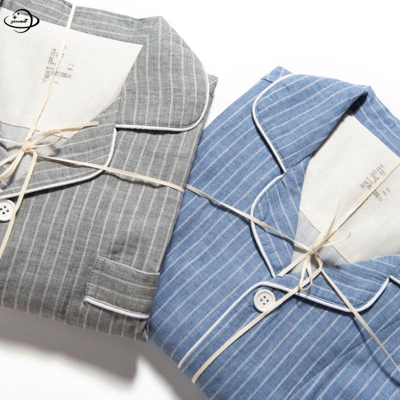 M-XL di cotone pigiama Mens Imposta primavera-estate maschile Sleepwear Suits maglietta + pants 2pcs manica corta a righe Uomo Abbigliamento H78