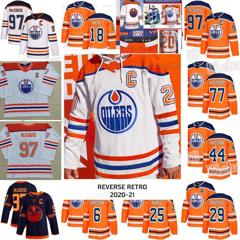 Edmonton Oilers 2021 Reverse Retro Connor McDavid Leon Draisaitl James Neal Mike Smith Nugent-Hopkins Kassian Klefbom Darnell Nurse Jersey