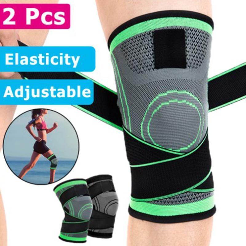 2 stücke Sport Kniead Männer Frauen Druckbezogene elastische Knieschützer Unterstützung Fitness Basketball Volleyball Laufen Brace Knieschutz