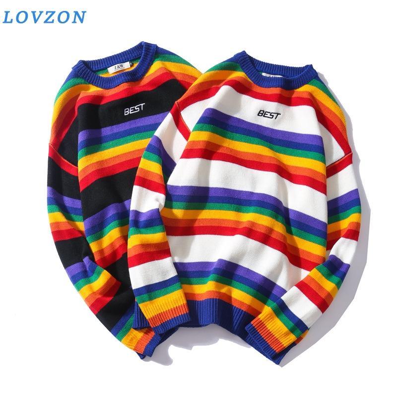 Ретро Радуга нашивки O-образным вырезом Пуловер мужской свитер зима Письмо вышивки свитер для мужчин Женщины 2Colors