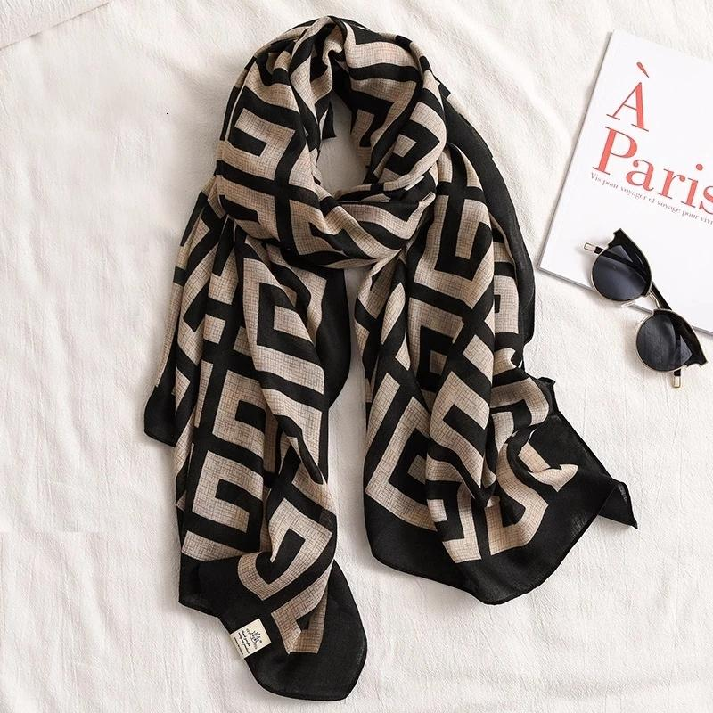 Donne di lusso Brand Cotton Sciarpa di cotone Grandi scialli Pashmina Hijab Foulard Echarpe Dign Stampa Lady Beach Stola Testa Scarv