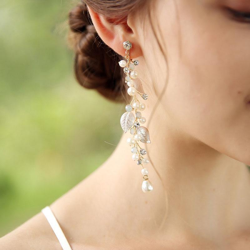 Slbridal Handmade Strass cristalli di cristalli perle foglia foglia di fiori da sposa dangle orecchino wedding lampadario orecchino moda donne gioielli