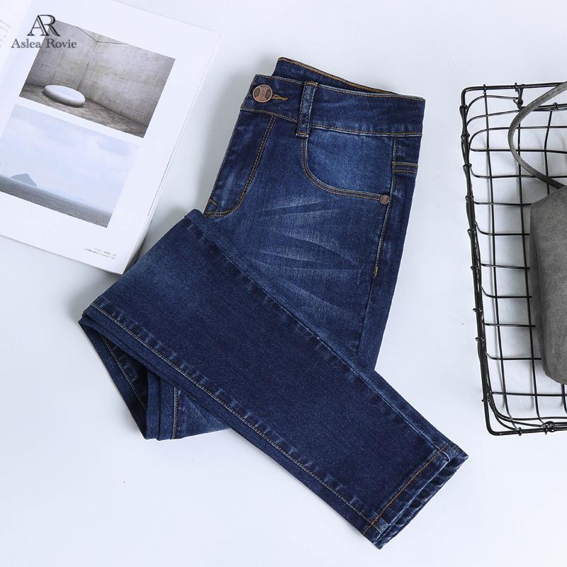 Jeans per donna vita alta Plus Size figura intera NY matita Black Blue Denim Pants 100kg