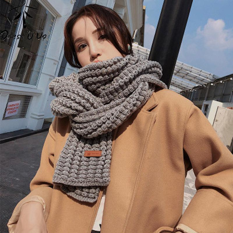 Dresguup marka kadınlar kış eşarp sıcak katı uzun el yapımı atkılar bufandas mujer fular femme hijab
