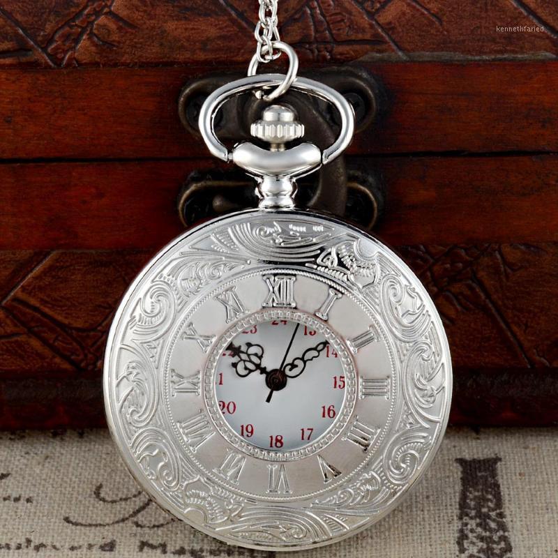 Cavo Numeri romani in argento a tema a colori in argento quarzo interamente inciso fob fob retrò pendente tasca tasca orologio catena regalo1